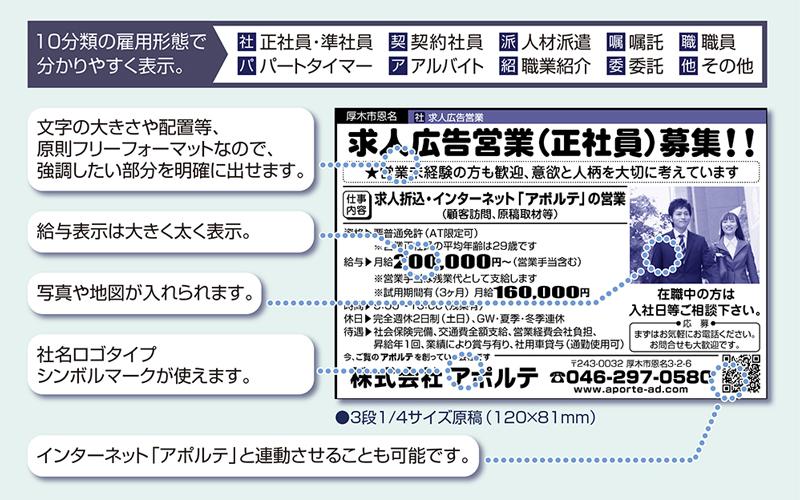 新聞折込求人広告「アポルテ」の枠サンプル
